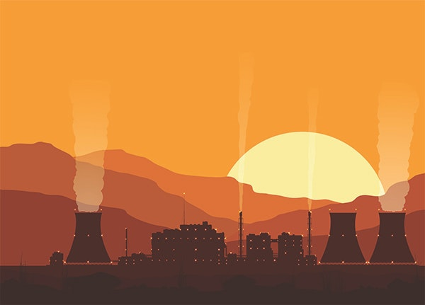 Silhouette Of A Nuclear Power Plant At Sunset 600